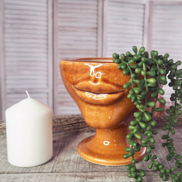 Australian gift, crystal, decor online shop: Warm honey glazed lips pottery vase