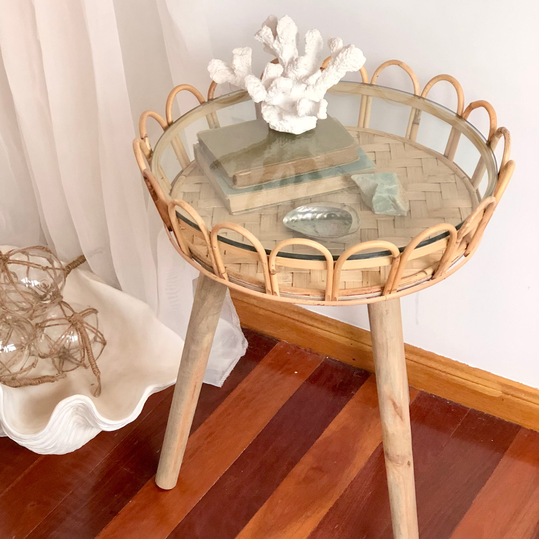 Gift, decor and crystal shop Australia: Island side table - Glass top, bamboo, rattan + wood table