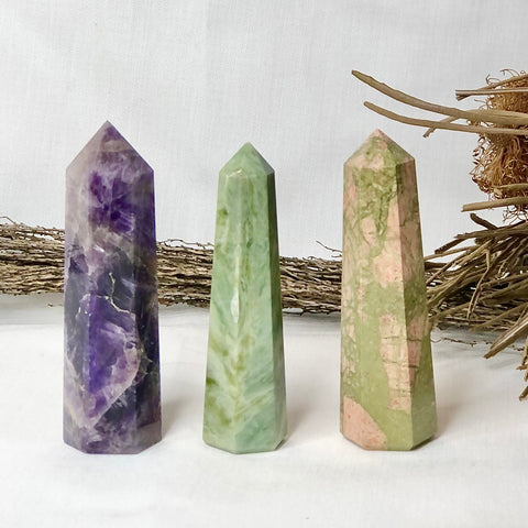 Trio of crystal towers - Amethyst, Agate + Unakite points