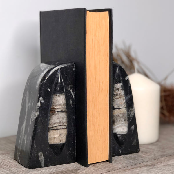 Australian gift, crystal, decor online shop: Fossil marble bookend pair 1.7kg