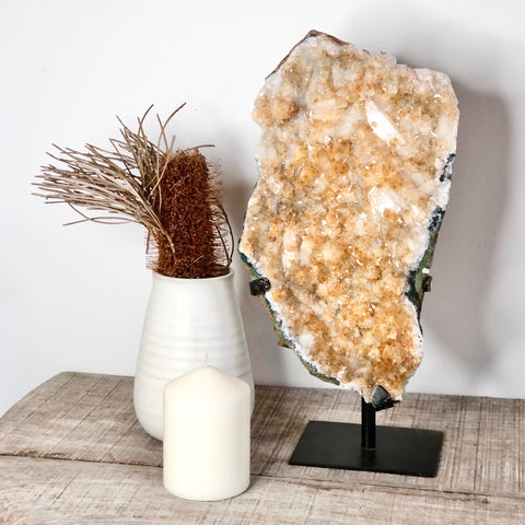 Citrine crystal cluster with black stand XL