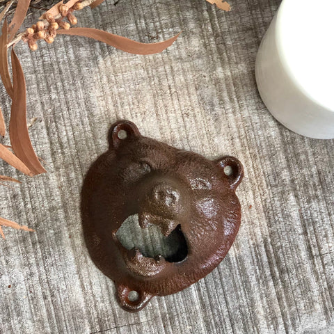 Bear bottle opener wall hook