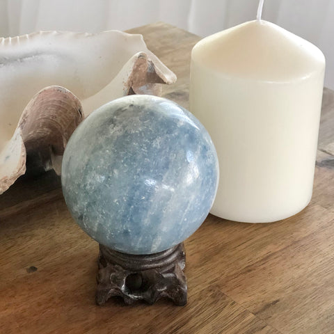 Blue Calcite crystal sphere ball