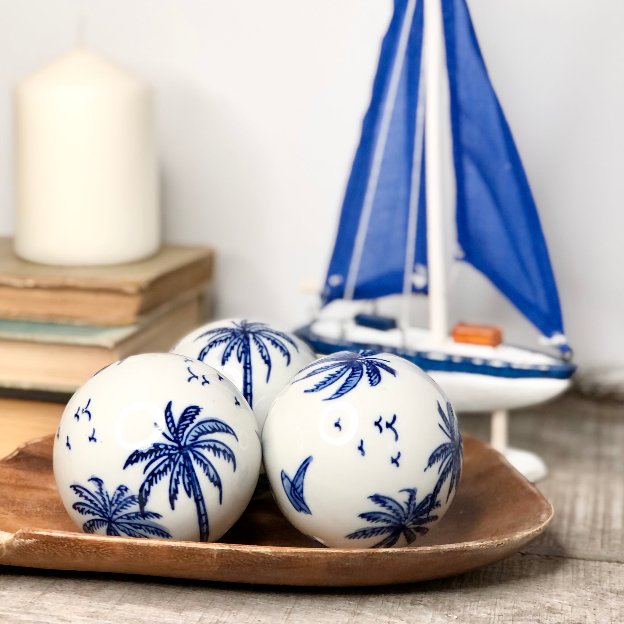 Gift, decor and crystal shop Australia: Tropical decor ceramic sphere set 3