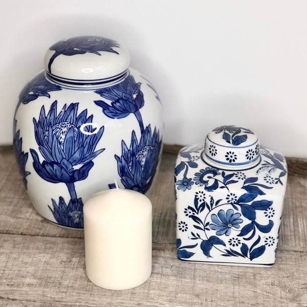 Australian gift, crystal, decor online shop: Blue + white floral ginger jar
