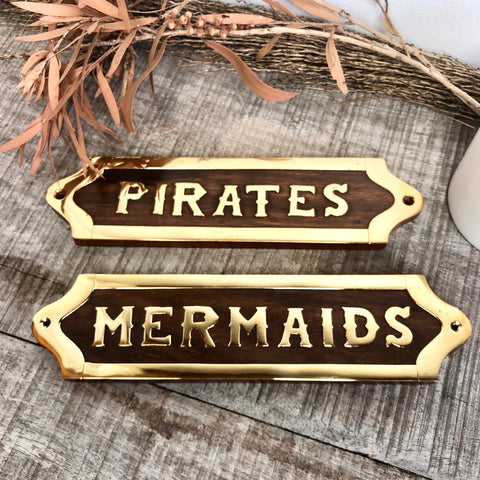 Mermaids, Pirates brass and wood door sign