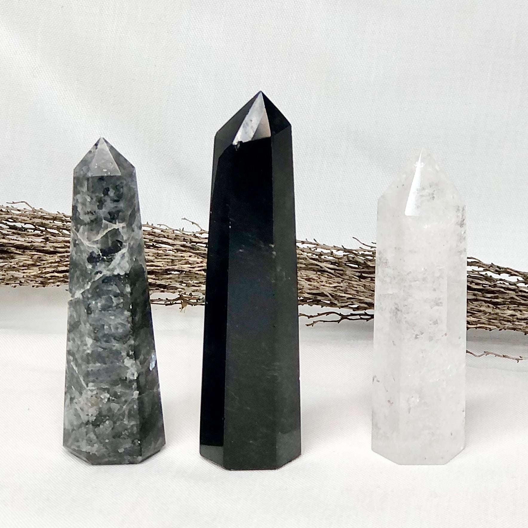Gift, decor and crystal shop Australia: Trio of crystal towers - Obsidian, Mystic Merlinite + Ice Quartz points