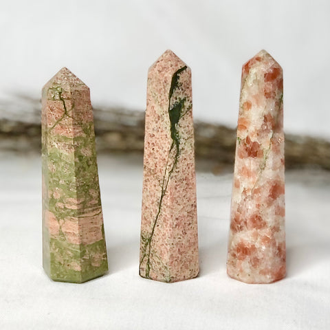 Trio of crystal towers - Sunstone, Unakite + Pink Feldspar points