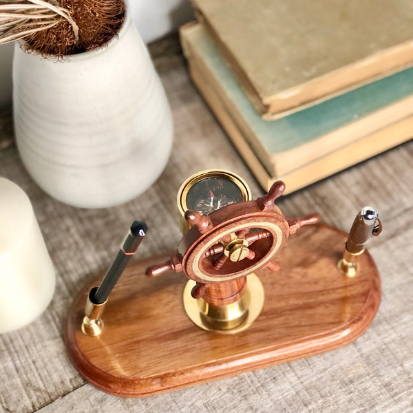 Australian gift, crystal, decor online shop: Sailing ship wheel + compass wooden desk pen holder