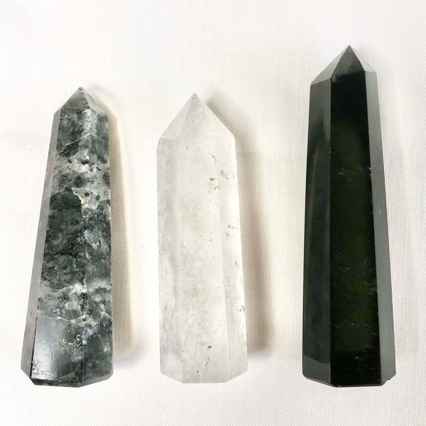 Australian gift, crystal, decor online shop: Trio of crystal towers - Obsidian, Mystic Merlinite + Ice Quartz points