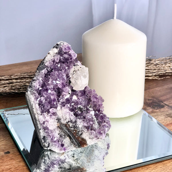 Australian gift, crystal, decor online shop: Amethyst + calcite + goethite crystal geode from Uruguay