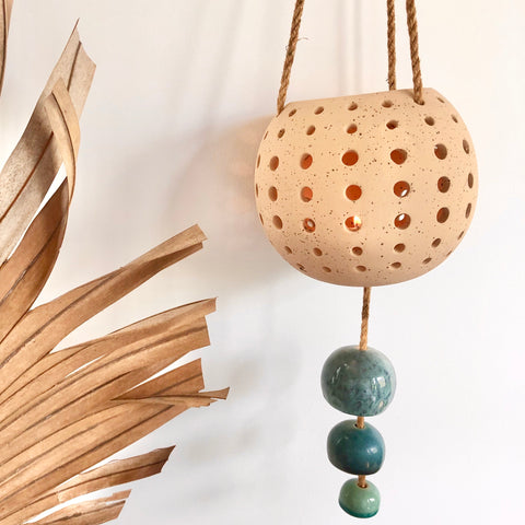 Sand and sea hanging candle holder pot