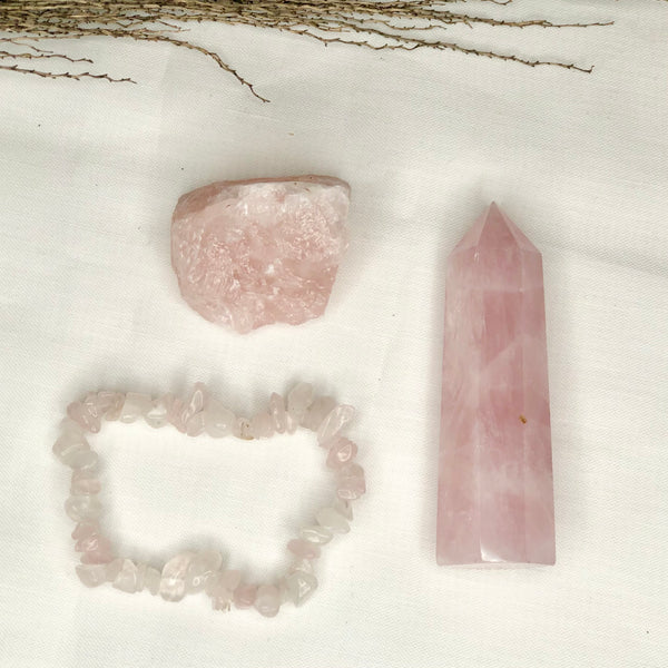 Australian gift, crystal, decor online shop: Crystal bundle - ABUNDANT LOVE - Rose quartz gift trio