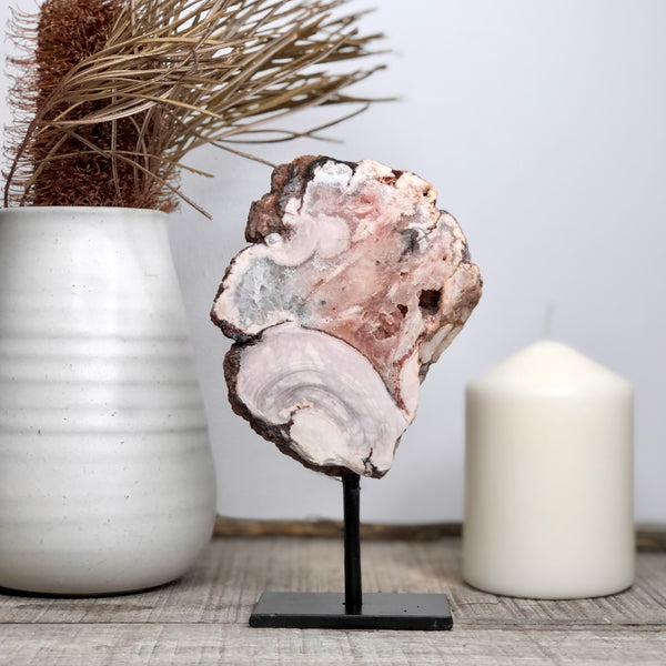 Australian gift, crystal, decor online shop: Pink Amethyst crystal on stand 17