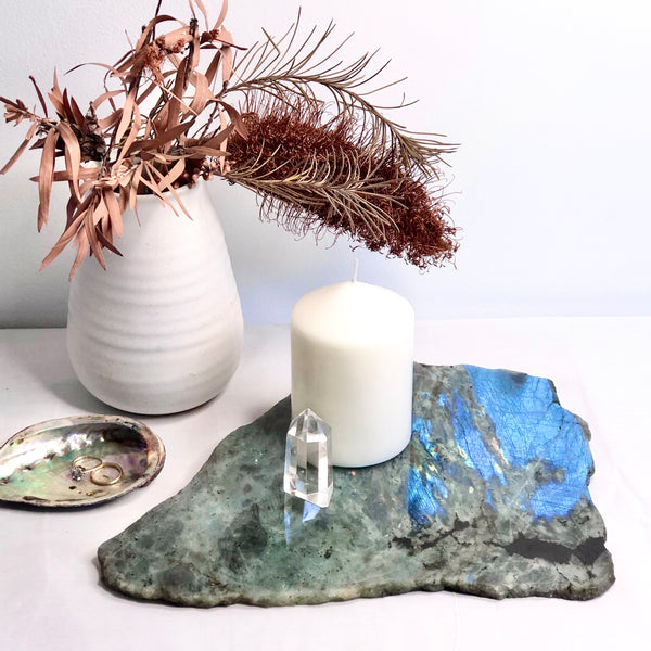 Australian gift, crystal, decor online shop: Labradorite polished crystal platter tray