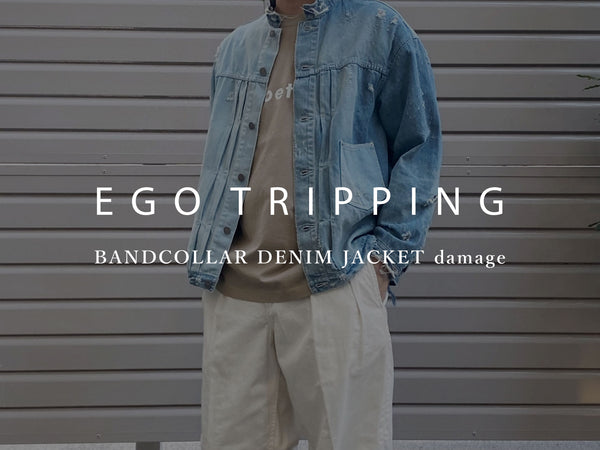 EGO TRIPPING / BANDCOLLAR DENIM JACKET damage
