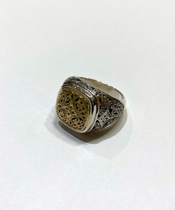 Greek Byzantine Style Ring 18k combi
