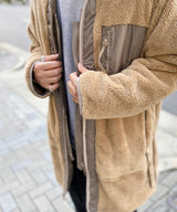 REVERSIBLE FLEECE COAT -BEIGE-