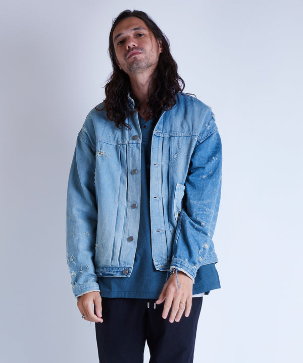 BANDCOLLAR DENIM JACKET damage