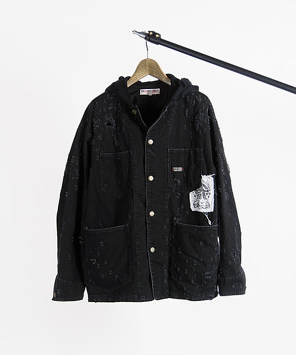 DUCKING DENIM COVERALL-used laser-