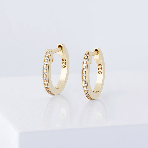 925 Sterling 12mm Round Micro Pave Earrings