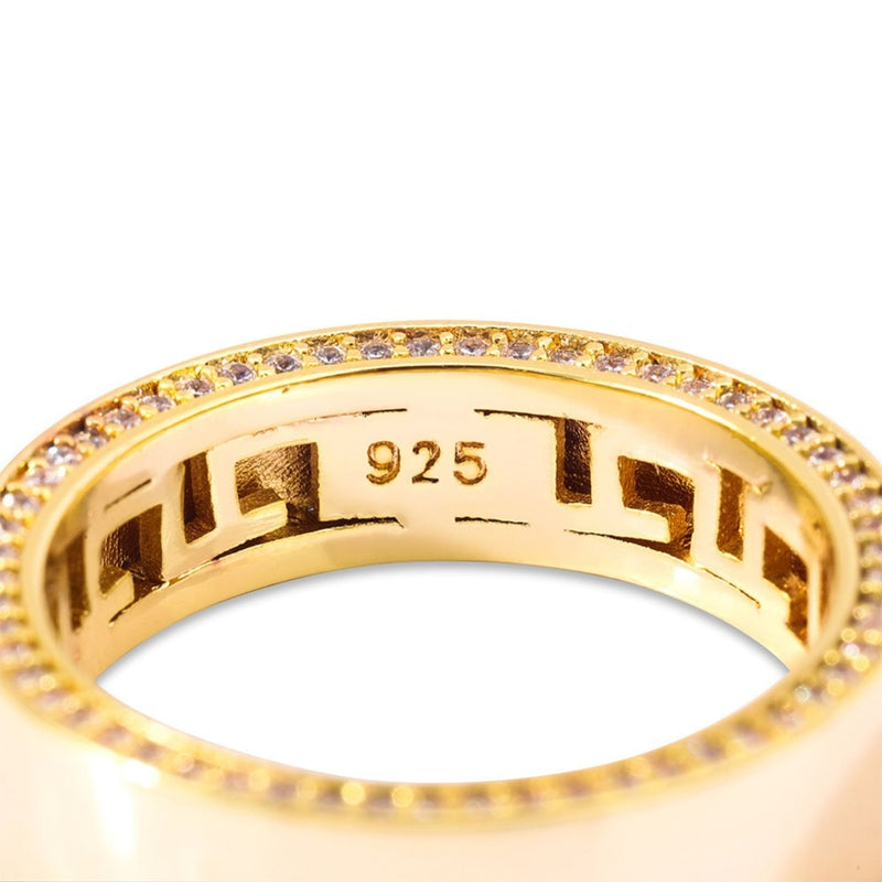 New .925 Gold Plain Band w/ Diamond Face
