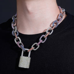 18mm White Gold, Iced Cable Chain w/ Iced Lock Pendant