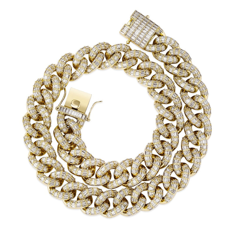 *NEW* 16mm Baguette Micro Pave Cuban Link Chain