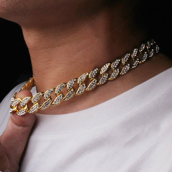 14MM Iced Out, Cuban Link Chain, Yellow gold