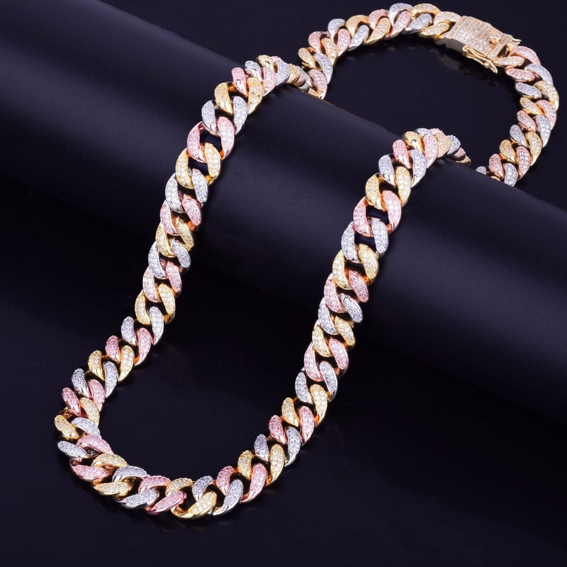 12mm 3-Tone Gold Iced Out Cuban Link Chain