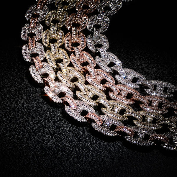 13mm Baguette Diamond, Iced Cable Chain
