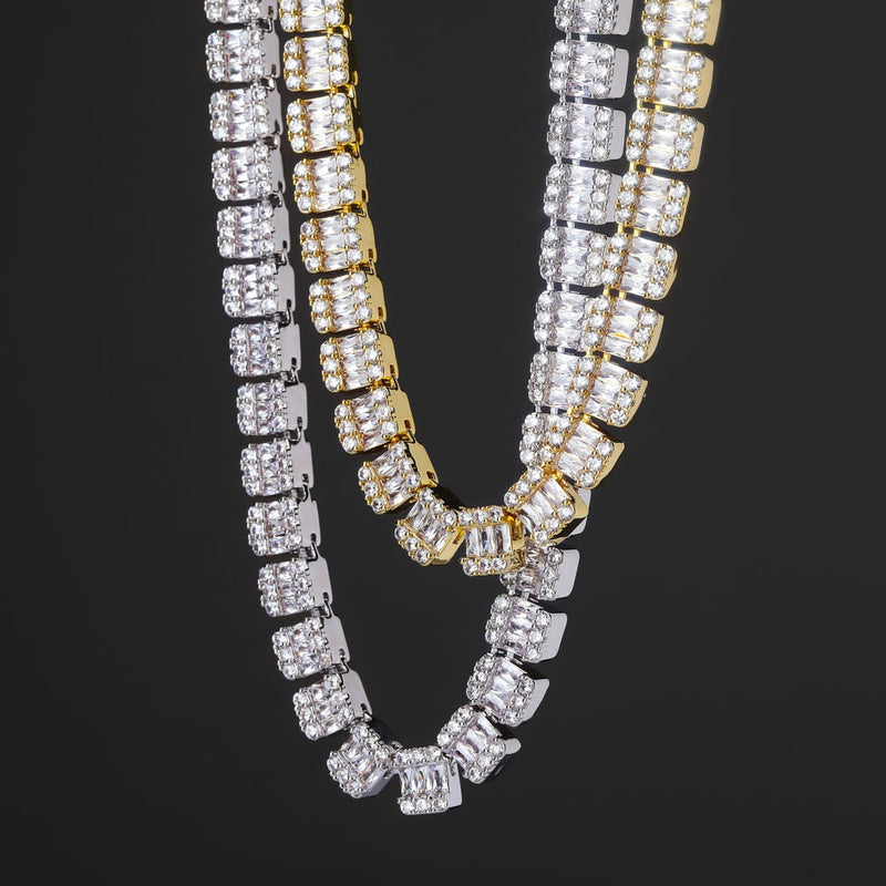 10mm Round/Baguette diamond Tennis Necklace