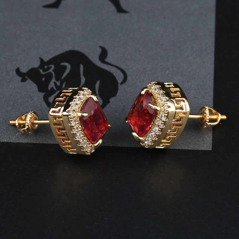 Multicolor Center, Stud Earring w/ Halo