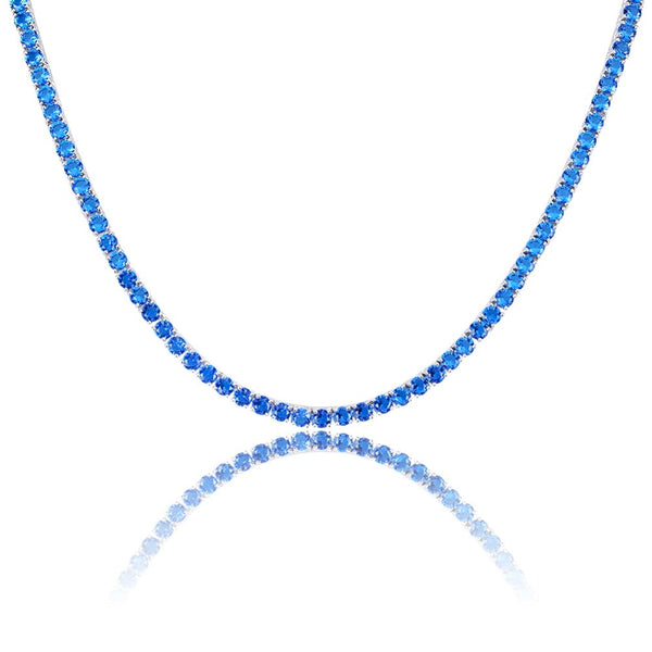 Ladies 4mm Iced Out Blue/Red Tennis Necklace