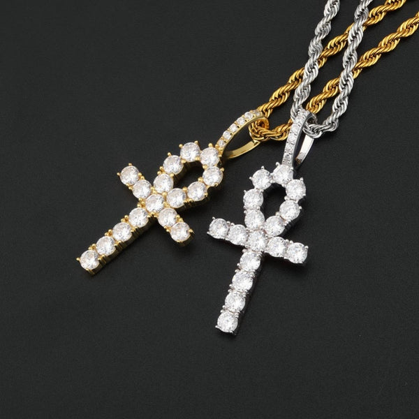 925 Sterling Iced Ankh Cross Necklace