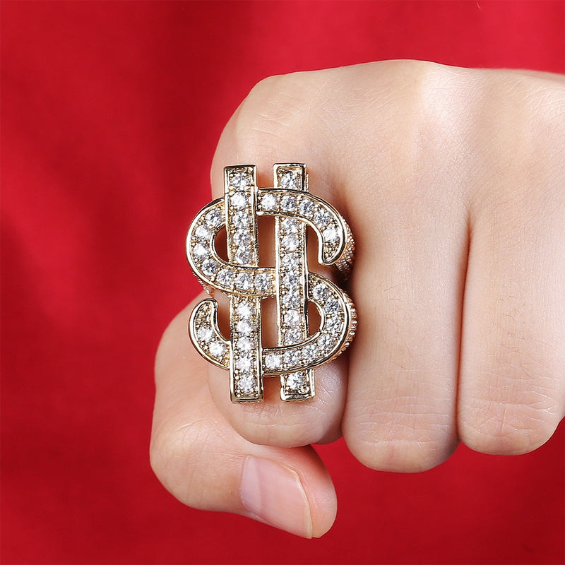 $ Dollar Sign Diamond Ring White/Yellow Gold