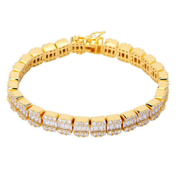 12mm Round/Baguette diamond hybrid Tennis bracelet