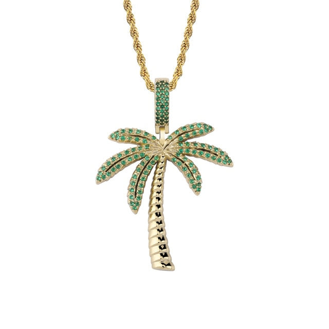 Palm Tree Iced Out Pendant w/ Necklace