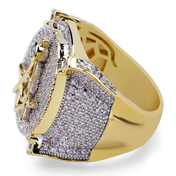 3 Masons Iced out Diamond Ring Yellow Gold