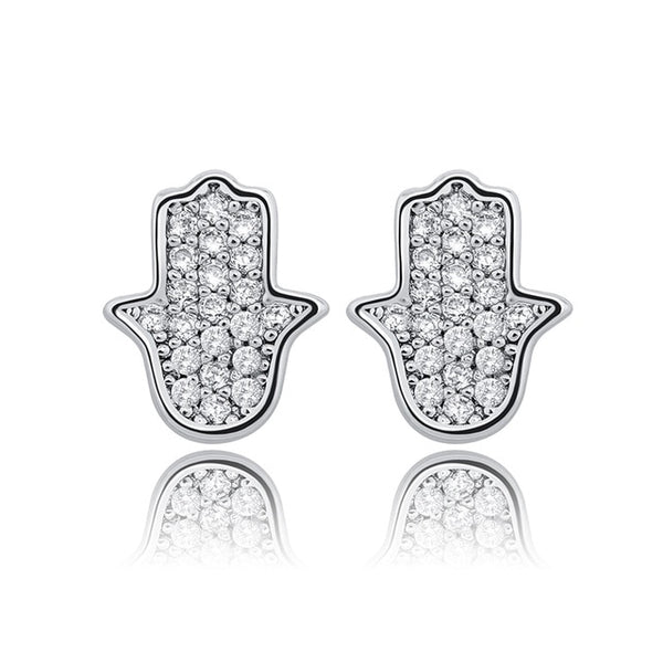 Diamond Hamsa Womans earring .925