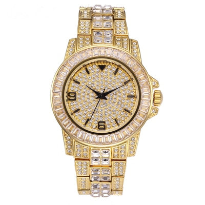 3AAA ICED OUT Wrist Watch Stainless Steel