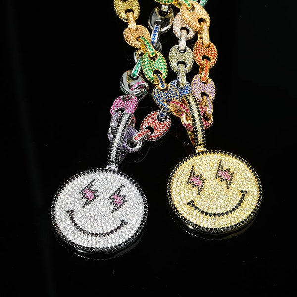 Iced out Smiley Face Pendant w/ Chain