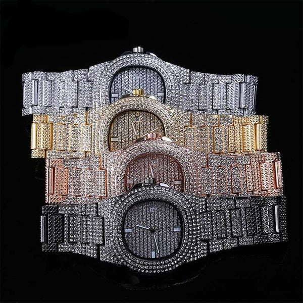 Dr!P'd Down Diamond Watch Quartz Gold