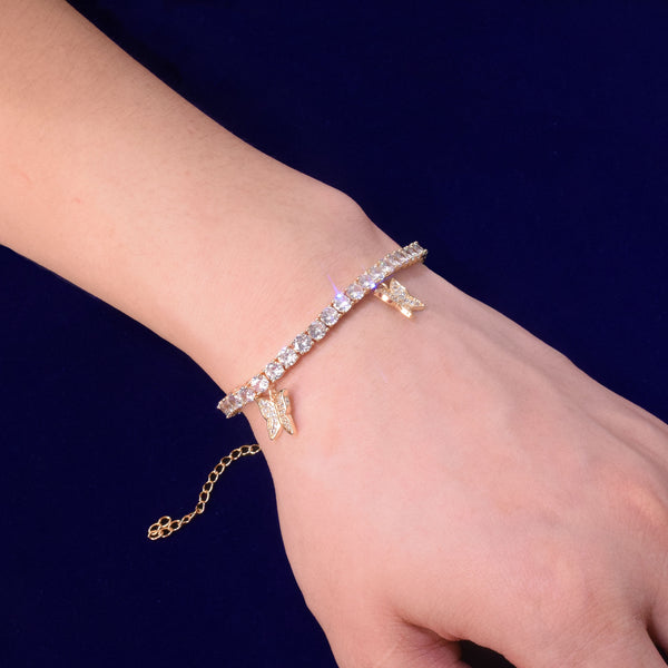 4mm Round Cut Tennis Bracelet with Butterflys