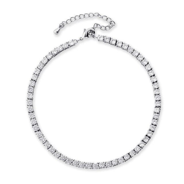 3mm Round Cut Tennis Anklet