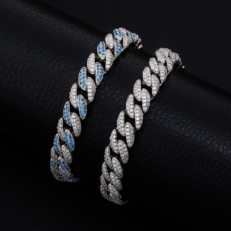 6 Colors, 10mm Micro Pave Cuban Link Bracelet