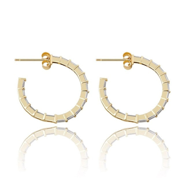 Micro Pave Baguette diamond earrings