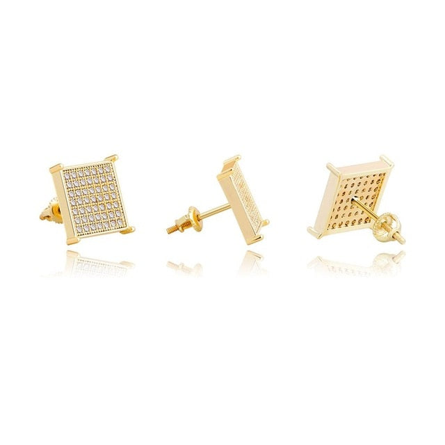 12mm Micro Pave Square Stud Earrings