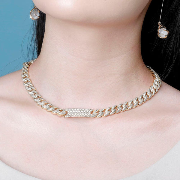 Ladies 9mm Cuban Link, Iced out, Micro Pave Choker