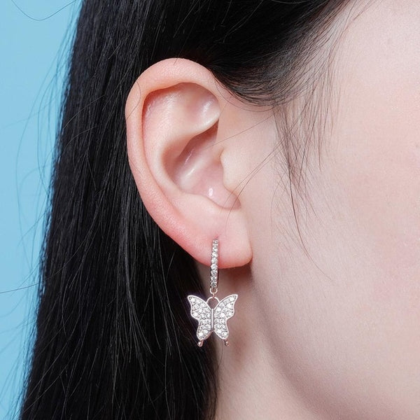 9mm Butterfly Women's Gold Earrings